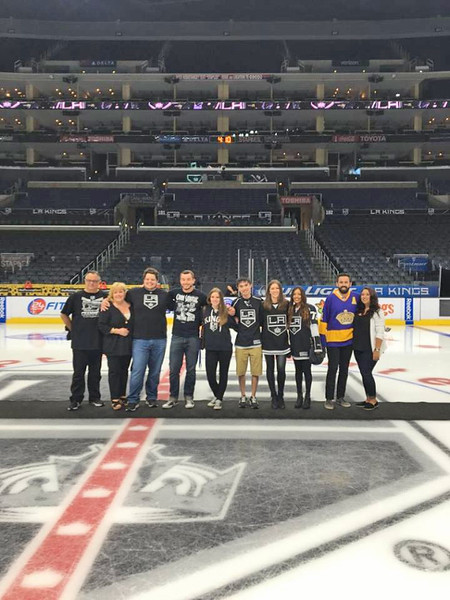 On Saturday, March 26, NDHS held its first Young Alumni Event at Staples Center in conjunction with the LA Kings-Edmonton Oilers game.  Those who purchased tickets were able to take a picture on the ice before the game.  Here is a small part of the group who attended.  Thanks to John Abary '05, who works for the LA Kings and coordinated the event.