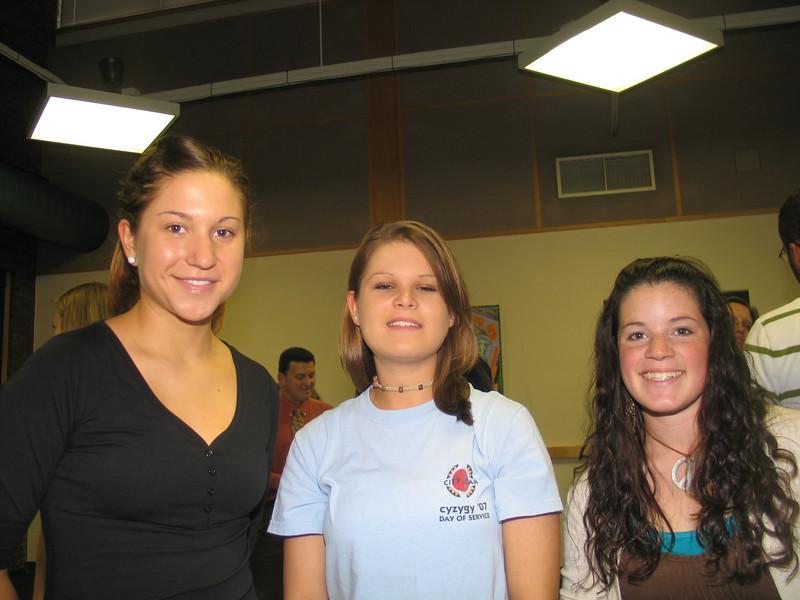 Athena Peterson, Jenn Adrikidis ( First Year Class Rep.), Lisa Busch (Junior Class Rep. & Student Life Chair)
