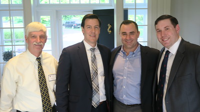 Peter Evans P'98, Daniel Cappello '01, Stephen Driscoll '06, and Andrew Valentine '05
