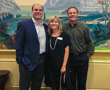 Todd Marr '99, Sue Evans P'98, and John Harker '80