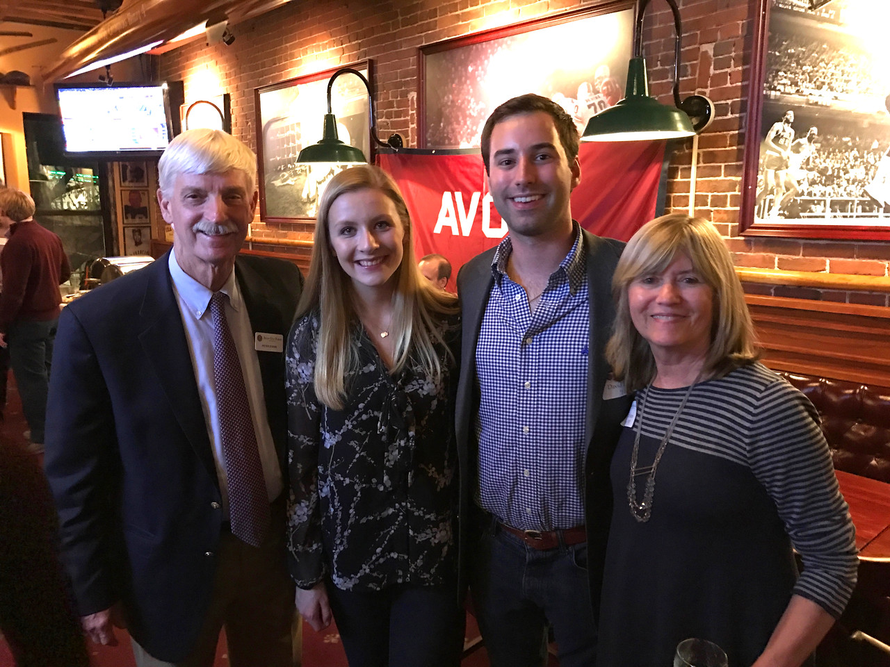 Peter Evans P'98, Jenna Raleigh, Dave Barros '11, and Sue Evans P'98