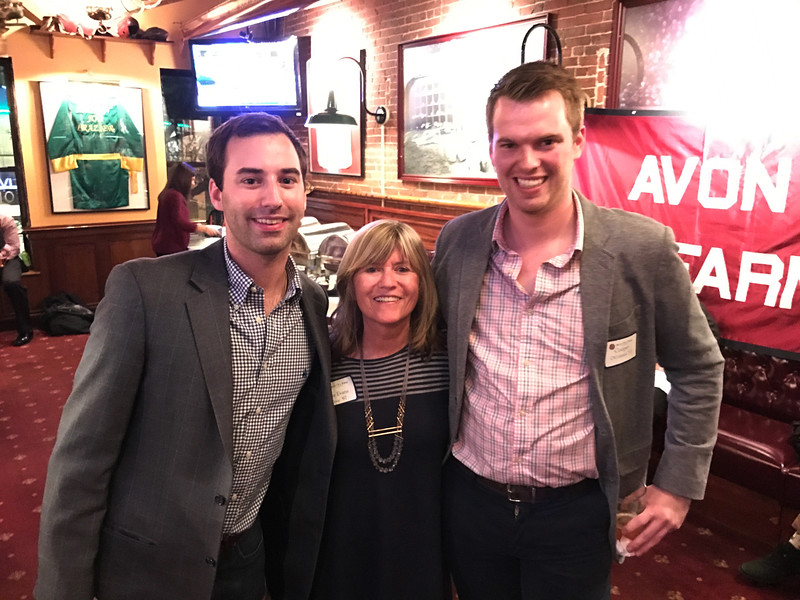 Dave Barros '11, Sue Evans P'98, and Cooper O'Connor '11