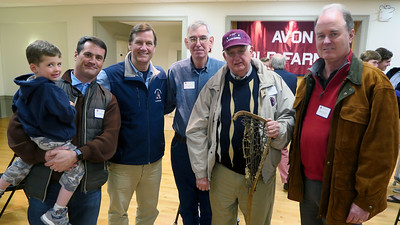 "Chip Burkhalter '92 with his son, Tim Trautman '75, P'03, Dan Reed '68, Poulson ""Pope"" Reed '63,  and Ken Cloud '78"