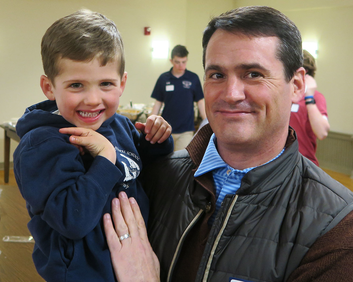 Chip Burkhalter '92 with his son.