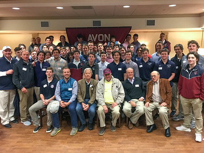 Row 1: Ryan Lanchbury '17, Adam Stifel '99, Kim Des Marais '69, Pope Reed '63, Richard Peyton '66, and Rusty Avery '63 Row 2: Kevin Driscoll '72, P'08, Skip Flanagan GP'16, '19, Brian Malchoff '07,  and Matt Kowalchick '99 with the Avon varsity lacrosse team.
