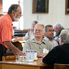 Alumni chat during breakfast on August 2, 2021 in the Newman Dining Room.