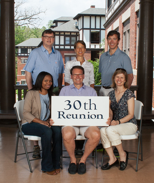 Class of 1987 - (first row) Antanette Mosley, Rob Anning, Piper Lesesne Trelstad; (second row) Robert Jones, Carla Cappiello Golden, John Thorsen