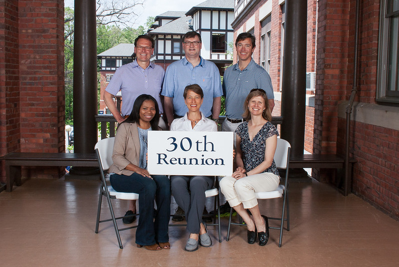 Class of 1987 - (first row) Antanette Mosley, Carla Cappiello Golden, Piper Lesesne Trelstad; (second row) Rob Anning, Robert Jones, John Thorsen