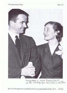 Stanley Moore and Laurie Malarky at the their wedding, Nov, 1953