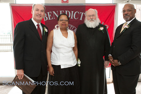 Communion Breakfast Honorees:<br /> (L-R) Jim Delaney, Shirley Walker, Fr. Augustine &<br /> Hon. Harold Fullilove Sr.
