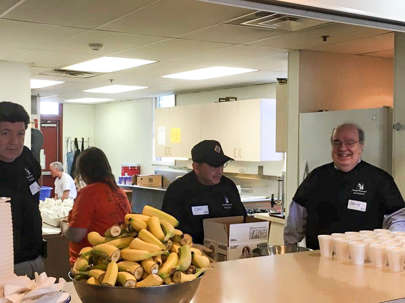 Breakfast prep was a success at the Westside Catholic Center due to the wonderful work of Day of Service volunteers in Cleveland, OH