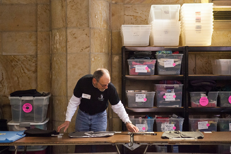 Saint Meinrad Day of Service at Catholic Charities in Louisville on March 11, 2017. Volunteers helps sort and organize clothing an household items, entered data into a computer and packed kits for refugees.