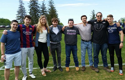 Young alumni at Lacrossee HVAL game May 20, 2017, Reid Landeman, Mark Fadeev, Sky Gyuro, Anthony Matriss, Joe Underwood, Talin Rowe, ColeJemal & Ilya Mikrashevskiy