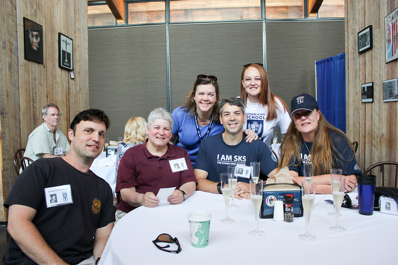 Background: Jon Connor '67 <br /> Foreground: Andy Block '93, Leslie Breton, Past Faculty; Jenn Sober; Ross Sober '92; Erin Tewey '92; Ila Barton '92