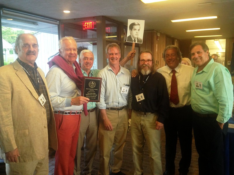 The Class of 1967: Phil Alfus, Averell Fisk, Doug Capers, John Connor, photo of Fernando Sanchez, Bill Wood, Jeff Ploch and Ed Lange