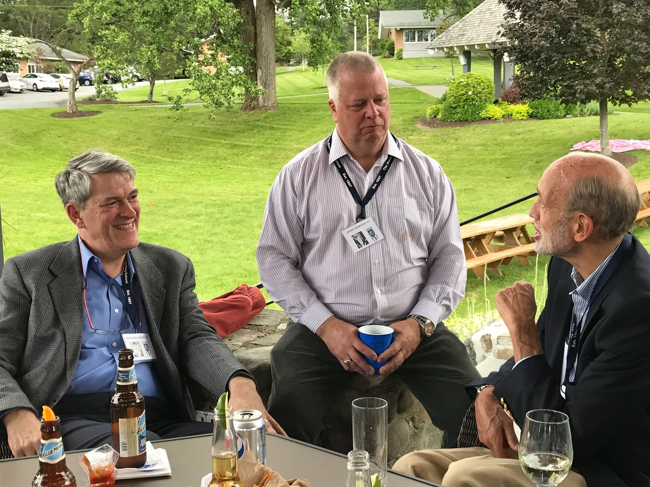 Bob Meynardie '77, Evan Horton '77 and Ned Farman, Past Faculty/Staff