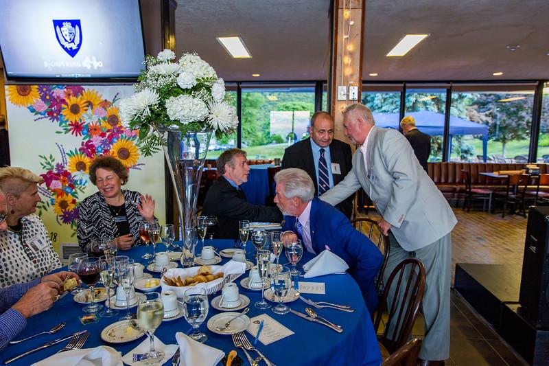 Gere Riley, Toni Scherrer, Headmaster Jon Lamb, Roger Auerbacher '66, Fred Sopher '58 and Balazs Szabo '63