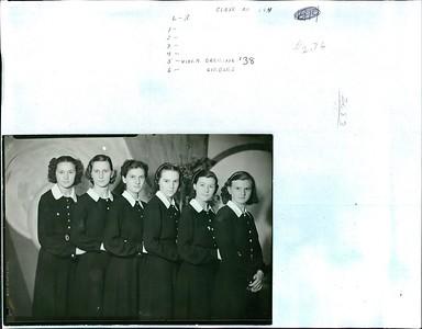 Class of 1938 or 194?? L to R:  1.  2.  3.  4.  5.  Viola Dreiling '38 6.  ??  Giebler