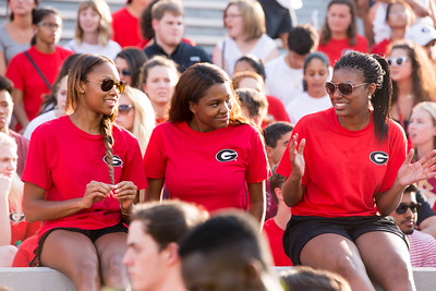Description: Freshman Welcome Class of 2019 Date of Photo: 8/16/2015 Credit: Dorothy Kozlowski, University of Georgia Photographic Services File: 32979-006  The University of Georgia owns the rights to this image or has permission to redistribute this image. Permission to use this image is granted for internal UGA publications and promotions and for a one-time use for news purposes. Separate permission and payment of a fee is required to use any image for any other purpose, including but not limited to, commercial, advertising or illustrative purposes. Unauthorized use of any of these copyrighted photographs is unlawful and may subject the user to civil and criminal penalties. Possession of this image signifies agreement to all the terms described above.