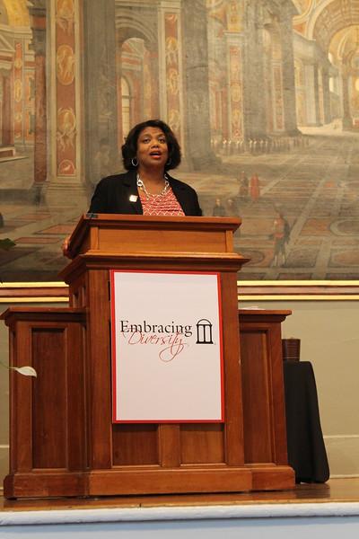 Yvette Daniels (AB '86, JD 89) providing remarks on behalf of the UGA Alumni Association for the Black Alumni Scholarship
