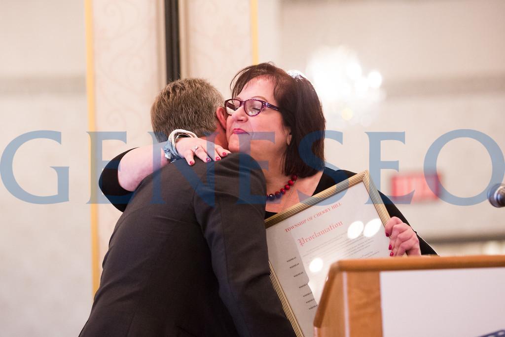 Melinda Hopkins Kane '79 reads a Cherry Hill Township Proclamation honoring Our Community Salutes and Ken Hartman // mkane@cherryhilltownship.com // opticaljewels@comcast.net // 856-275-8464