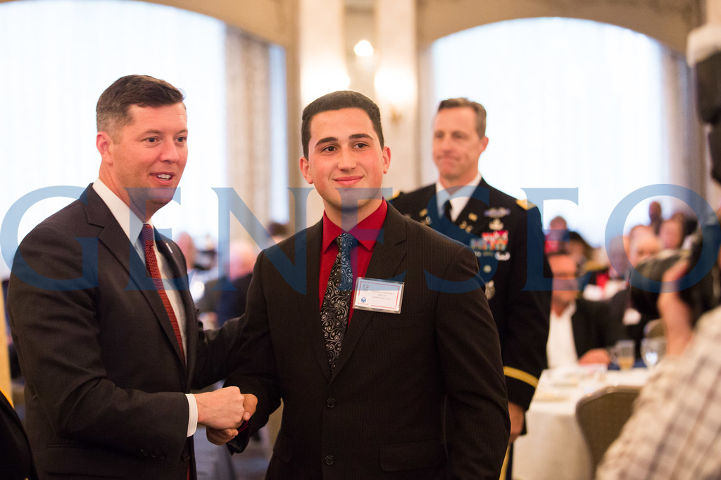 Nicholas Lombardo shakes hands with Secretary of the Army, Patrick J Murphy // bardbros@gmail.com // 856-217-9429