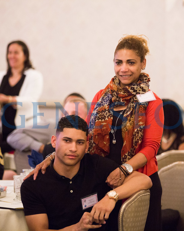 Tina Rivera stands proudly behind her son, Angel during the Our Community Salutes Dinner. Angel contact: angelrivera97@icloud.com