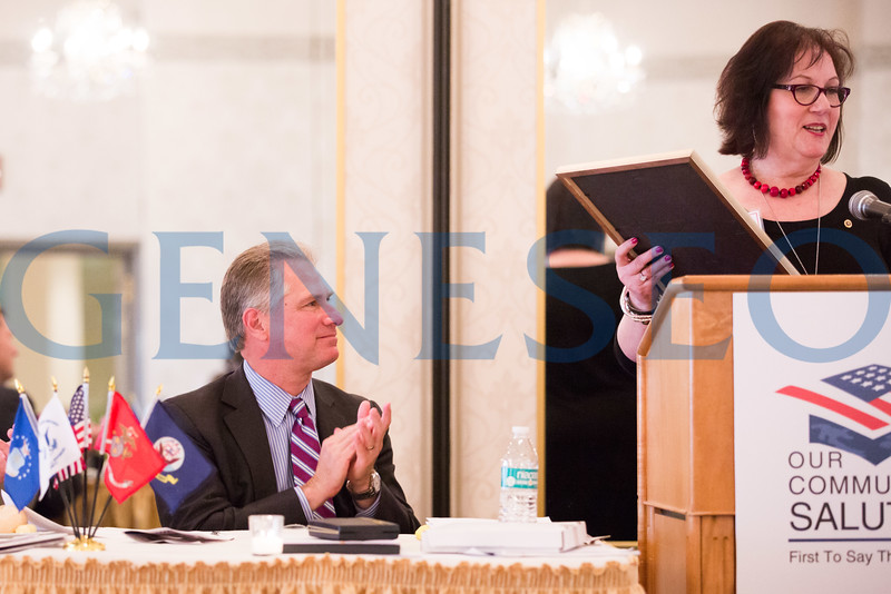 Melinda Hopkins Kane '79 reads a Cherry Hill Township Proclamation honoring Our Community Salutes and Ken Hartman // mkane@cherryhilltownship.com // opticaljewels@comcast.net // 856-275-8464