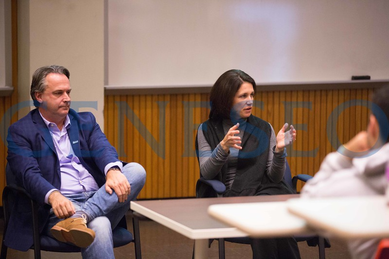 Fall 2017 John O'Malley and Jessica Savage school of business and communications alumni panel KW