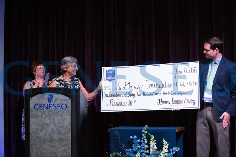 Jane Mannheim Claud '69 presented Geneseo with a reunion check in the amount of $132,761