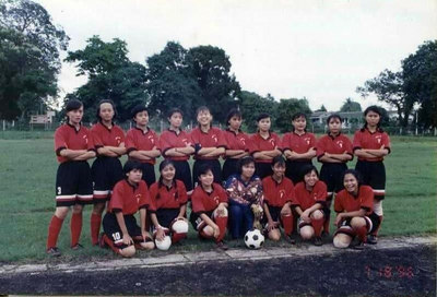 IM 1 Women's soccer team of 1996 photo credit: Nandar Min Swe front(L-R)Khine Thuzar Win,Khin Myo Myo Aung,Sinn Sinn, Zayze Kyaw(Goalie),Zin Zin Htike, Khine Win Phyu,Thin Thin Ohn,(back L-R)Khin Aye Myint, Than Than Win,Khin Chaw Yu Aung,Nandar Min Swe,Thidar Pyone(C),Ei Ei Sine,Khin Muyar Soe,Nang Phong Hsai,Theingi Maung Maung,Aye Sandar Nyunt