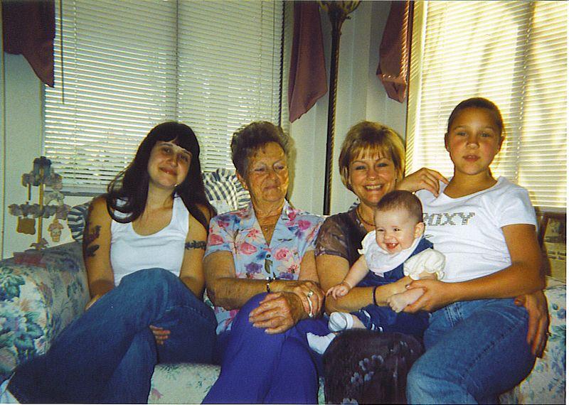 Dorthy, Grandma, Mom, Katlyn, and Ashley.