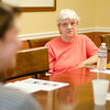 Elise Clark listens during the Alzheimers support group at Leominster Crossing on Saturday afternoon. SENTINEL & ENTERPRISE / Ashley Green