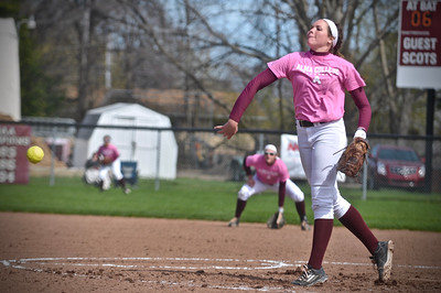 The Alma College softball team split with Trine on Wednesday to remain tied for first place in the MIAA at 12-2. (Sun photos by Paul Beroza)