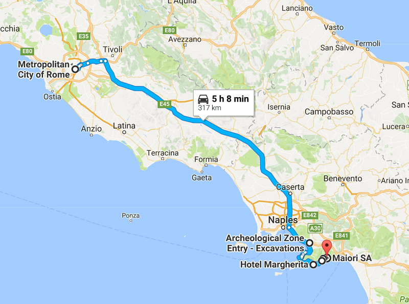 Our drive from Rome down to Pompeii and the Amalfi coast, which are both just south of Naples.