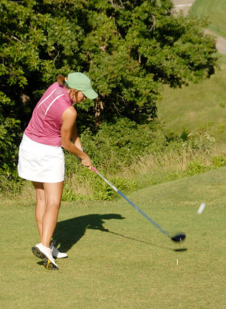 Meredith Beykirch of Sedalia tees off in round one.
