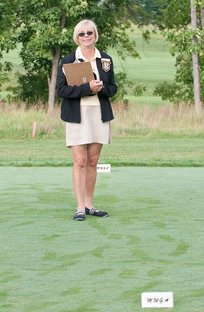 MWGA Junior Director, Nancy Sebastian  - starter at hole number one!