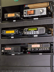 Radios inside the Red Cross trailer