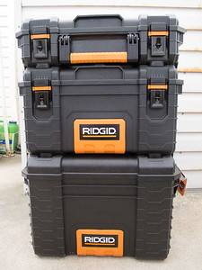 Three-tier wheeled tool box from Home Depot.  The bottom will contain the power source, the center section the radios and the top section storage for cables, etc.