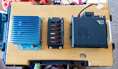 Mounting board with 2 Meter amp, RigRunner 4005 and FT-7900R mounted.