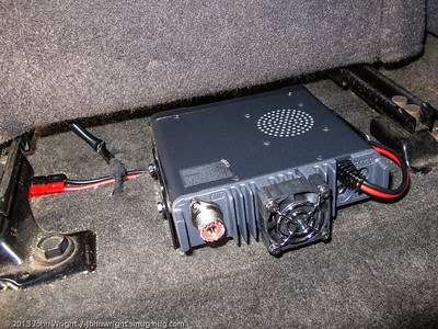 Radio mounted to the bracket