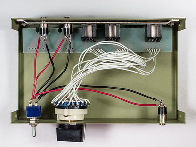 Internal wiring of completed box.Three jacks and one switch added.