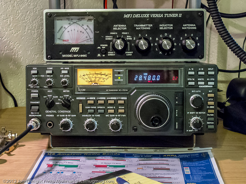 Loaner Icom IC-751A HF transceiver and loaner MFJ-949C antenna tuner.  Thanks to Tim, W6MU for the loan of the Icom and Dave, WB4LCN for the tuner loan.