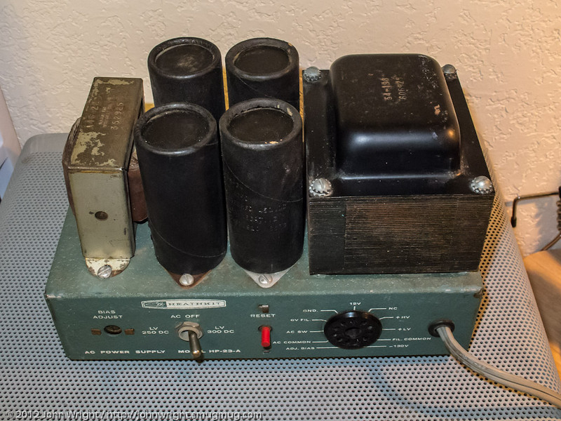 Heathkit HP-23-A power supply.  This power supply now resides inside a Heathkit SB-600 speaker enclosure (as it is designed to do) and is connected to the SB-102 transceiver.