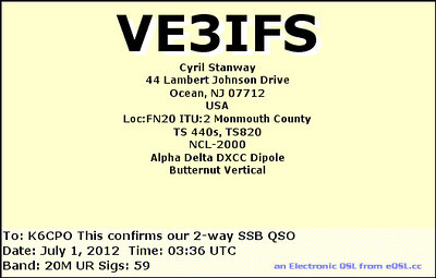 VE3IFS e-QSL card