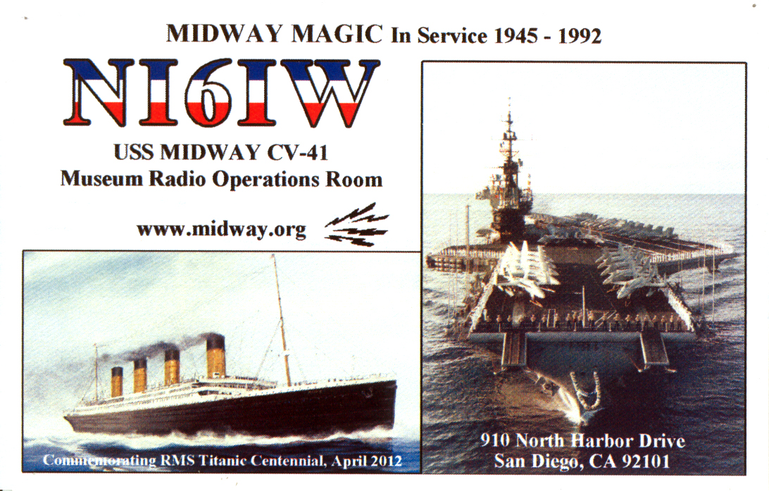 NI6IW.  USS Midway Museum, San Diego, CA