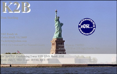 K2B e-QSL.  The Statue of Liberty is nice for a 13 Original Colonies event, but K2B was in Virginia...