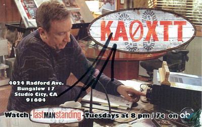 "KA0ATT.  Mock QSL card for the TV Show ""Last Man Standing.""  Autographed by Tim Allen."