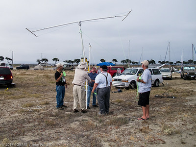 Club members erecting john Markham's 10 meter Moxon antenna