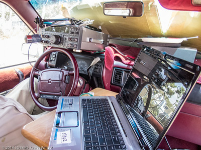 John Markham, KD6VKW, set up his station in the driver's seat of his van.